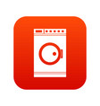 washing machine icon digital red vector image vector image
