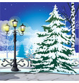winter sketch on background snowy spruce vector image