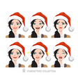 women in santa hat with different emotions vector image vector image
