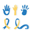 world down syndrome day hands print paint vector image vector image