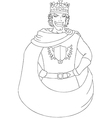 Young King With Crown Coloring Page vector image vector image