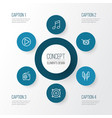 music outline icons set collection of orator vector image