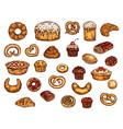 bakery shop sweets cakes and pastry vector image