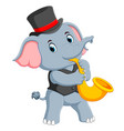 big grey elephant uses the black hat vector image vector image