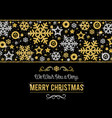 black christmas card with frame of golden and vector image vector image