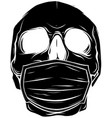 black silhouette skull face in medical face vector image vector image