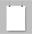 blank paper sheet hanging on binders advertising vector image vector image