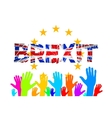 Brexit Text Isolated art hand flag of the vector image vector image