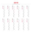 calendar 2019 portrait design vector image vector image