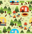 camping caravans seamless pattern tile vector image
