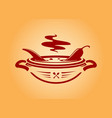 chili pepper in bowl icon emblem vector image