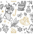 christmas object seamless pattern hand drawn vector image