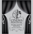 cinema poster with camera and black curtains vector image vector image