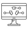 diagram at monitor icon outline style vector image vector image