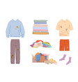 dirty clothes and mess set grease stained blue vector image