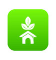 eco house icon green vector image