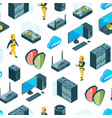 electronic system of data center icons vector image
