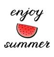Enjoy summer Hand made brush lettering vector image vector image