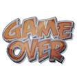 game over wooden icon for ui game vector image