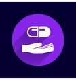 hand holding pill tablet sign symbol medicine vector image vector image