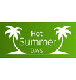 hot summer days poster with white palm trees vector image vector image