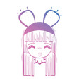 line anime girl head with custome and hairstyle vector image vector image