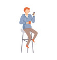 man is sitting in a high chair vector image vector image