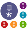 medal star icons set vector image vector image
