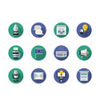media content flat round icons set vector image