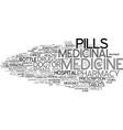 medicinal word cloud concept vector image vector image