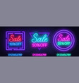 neon sale signs on brick wall background vector image