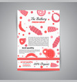 newsletter with meat products flat meat farm vector image vector image