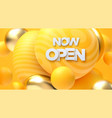 now open white sign golden and yellow bubbles vector image vector image