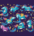 pattern with cute unicorns in cartoon style vector image vector image