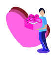 person in love wih present and big heart in vector image