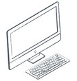 personal computer sketch monitor and keyboard vector image vector image