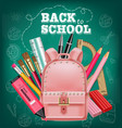 pink satchel back to school card realistic vector image vector image