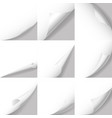 realistic 3d detailed white curled corners set vector image