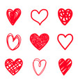 red highlighter scribble hearts vector image