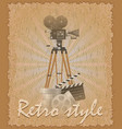 retro style poster old movie camera vector image vector image