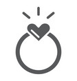 ring glyph icon love and jewelry engagement ring vector image vector image
