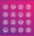 school and college education line icons set vector image vector image