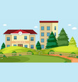 school building nature scene vector image vector image