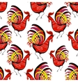 Seamless pattern with color fire cock on white vector image vector image
