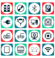 set of 16 computer hardware icons includes chip vector image vector image