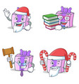 set of gift character with santa book judge candy vector image