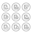 set round line icons mobile phone functions vector image vector image