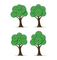 set stylized abstract trees vector image vector image