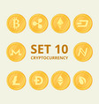 set virtual currency icons trading signs on a vector image