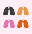 simple lung set icon with different color vector image